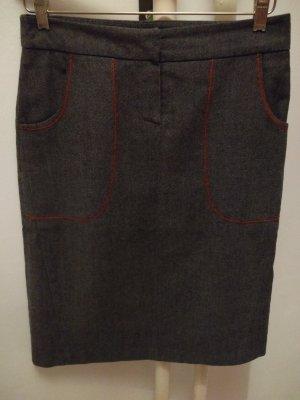 Tweed rok antraciet-rood Katoen