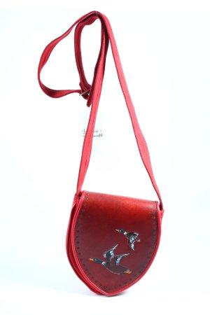Teufel Design Bolso folclórico rojo oscuro estampado con técnica de pintura