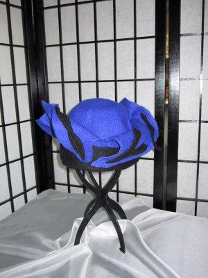 Cappello in feltro blu-nero Lana merino