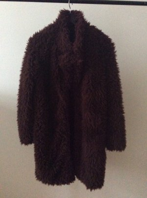 Texturierte Winter- Kuschel- Jacke in bordeauxfarben