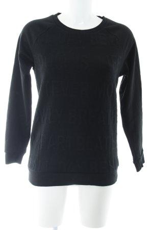 Tezenis Sweatshirt schwarz Schriftzug gestickt Casual-Look