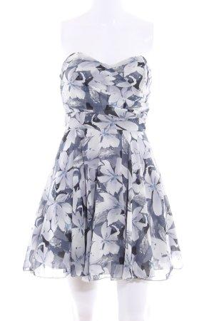 TFNC Bandeaukleid stahlblau-hellgrau Blumenmuster Elegant