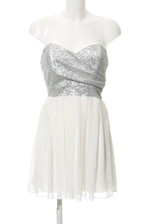 TFNC Vestido bustier blanco-color plata elegante