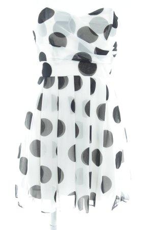 TFNC Cocktailkleid weiß-schwarz Punktemuster Party-Look