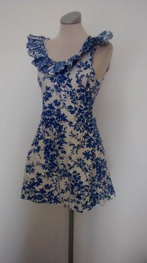 TFNC London Kleid Baumwolle Gr. Uk 12 38 40 neu blau weiß gerüscht Minikleid