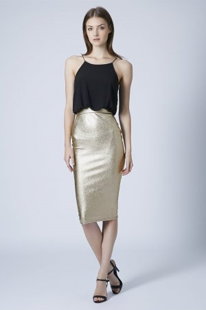 TFNC Midi Dress Kleid Agnes Gold Metallic
