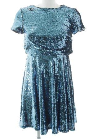 TFNC Pailettenkleid silberfarben-kadettblau Elegant