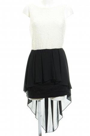 TFNC High Low Dress black-cream material mix look