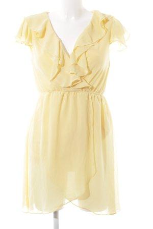 TFNC Vestido estilo flounce amarillo pálido estilo romántico