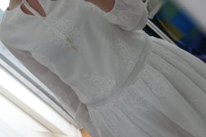 Tommy Hilfiger Robe mi-longue blanc-blanc cassé coton