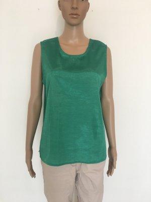 Thai silk Smaragd l large  Wildseide Türkis grün Frühling Sommer Urlaub top ärmellos lässig edel elegant zeitlos cool