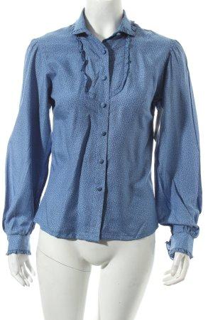 Thalbauer Trachten Blusa con volantes azul acero estampado floral