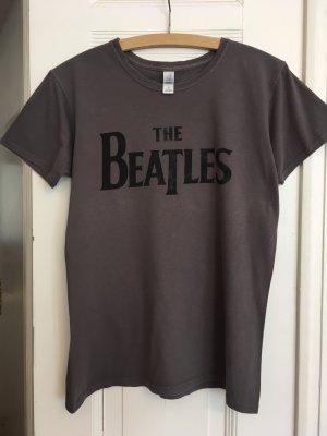 Gildan Shirt met print grijs-donkergrijs Katoen
