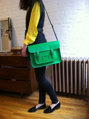 no name Satchel neon green leather