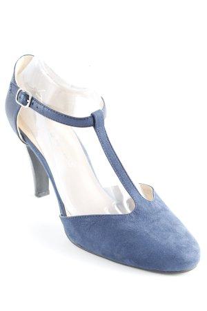 The Divine Factory Zapatos de tacón con barra en T azul oscuro-negro elegante