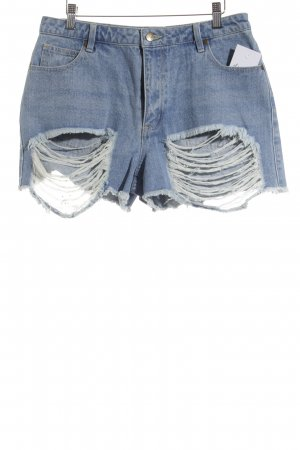 The Fifth High-Waist-Shorts hellblau-wollweiß Destroy-Optik