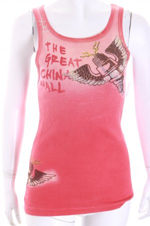 The great China wall Tank Top bright red abstract print glittery