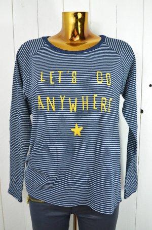THE HIP TEE Damen Shirt Longsleeve Dunkelblau Hellblau Gelb Ringel Gr. M/L
