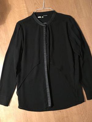 The Koople Bluse schwarz Lederdetails M