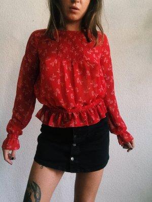 The Kooples bluse in rot mit blumen mustern neu s red hemd mit Gummizug