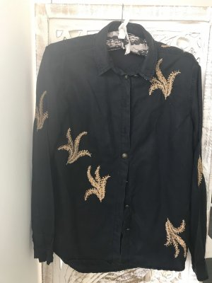 The Kooples Long Sleeve Shirt black-gold-colored lyocell