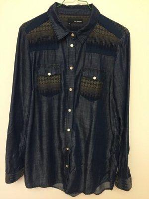 Chemise en jean noir-bleu foncé