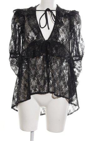 The Kooples Langarm-Bluse schwarz Blumenmuster extravaganter Stil