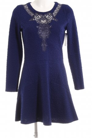 The Kooples Langarmkleid blau-grauviolett florales Muster Casual-Look