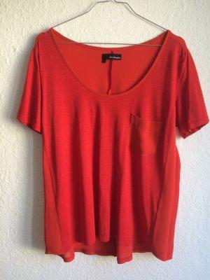 THE KOOPLES rot-oranges T-Shirt mit Rückenteil und Tasche aus Seide