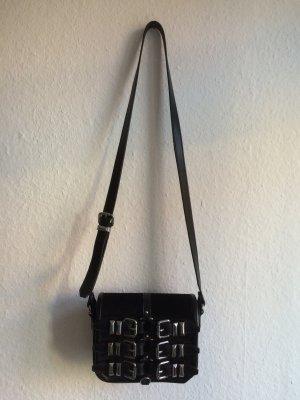 THE KOOPLES schwarze Tasche mit rockigen Schnallen-Details