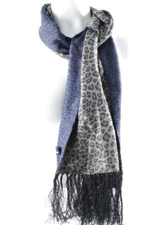 The Kooples Sciarpa di seta color cammello-blu scuro Stampa leopardata