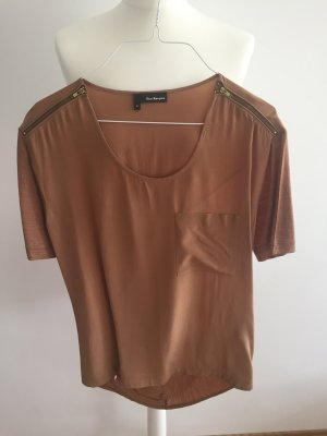 The Kooples short sleeve mix-media Bluse zipper shoulders