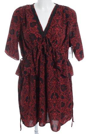 The Kooples Tunikakleid schwarz-rot florales Muster klassischer Stil