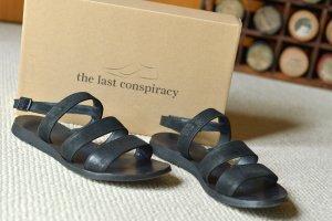 Sandalo nero Pelle