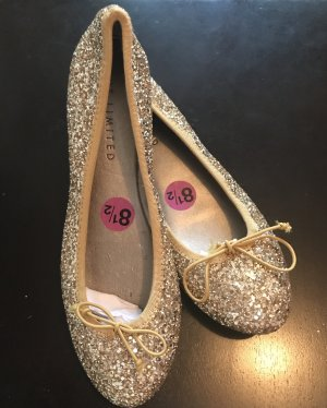 The Limited Damen Gold Glitzer Ballerina Flats Schuhe 38 Neu