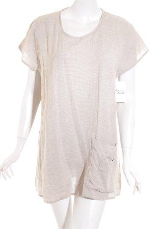 The Masai Clothing Company Kurzarm-Bluse beige-weiß schlichter Stil