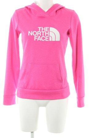 The North Face Kapuzensweatshirt neonpink-weiß Schriftzug gedruckt