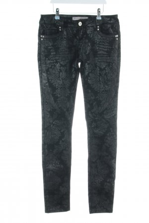 The Red Bridge Five-Pocket Trousers black-light grey allover print casual look