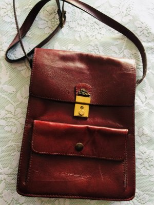 Carry Bag brown red-bordeaux leather