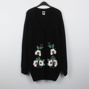 Coarse Knitted Jacket black-white polyacrylic