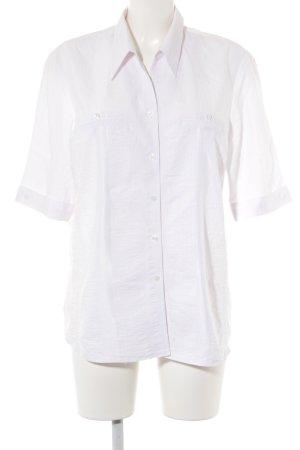 THEA 42 plus Kurzarm-Bluse weiß Streifenmuster Glanz-Optik