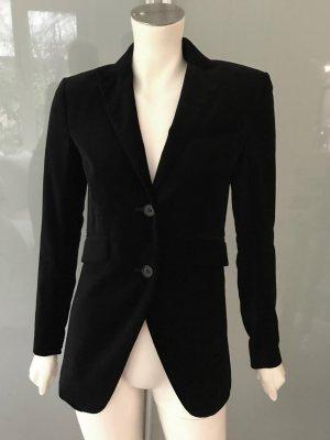 THEORY Samt Blazer Jacke Schwarz S 36 Stretch Cotton Jacket Black Velvet TOP