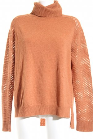 Theory Wollpullover camel Lochstrickmuster Casual-Look