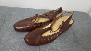Sandalias de tacón con barra en T coñac Cuero