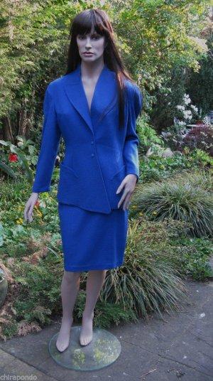 THIERRY MUGLER Kostüm Blazer & Rock Gr. 40 blau 100% Wolle LUXUS!