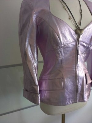 Thierry Mugler Giacca in pelle rosa antico-malva