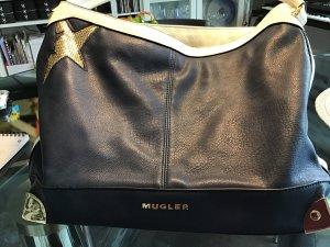Mugler Tas donkerblauw-wit Leer