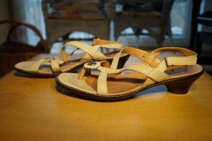 Think! Komfort Sandalen Leder in Cremé mit Zierknopf