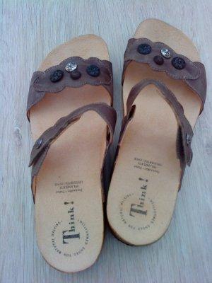 Think! Comfortabele sandalen zwart bruin Leer