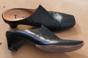 Think! Heel Pantolettes black leather